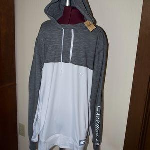 American Eagle Gray White Hoodie Sweatshirt NWT L